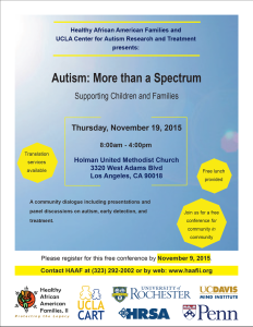 healthy african american families (HAAF), UCLA, center for autism research and treatment (CART)